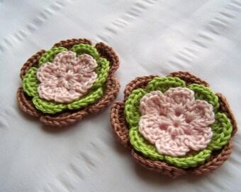 Flower crochet motif 2.5 inch cotton pink green brown