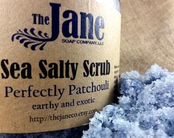 Perfectly Patchouli Sea Salt Body Scrub - Essential Oil - Earthy, Hippie - Relaxing Bath Scrub - 24oz