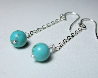 Turquoise Drop Earrings, Sterling Silver, Minimalist, Long and Dangling, Casual, Everyday, December Birthday