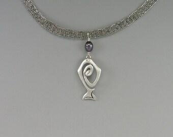 Halibut Spirit Pendant, Titanium, Rainbow Pearl, Sterling