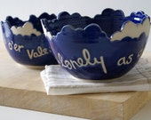 Set of two stacking cloud stoneware bowls - hand carved bowls in ocean blue