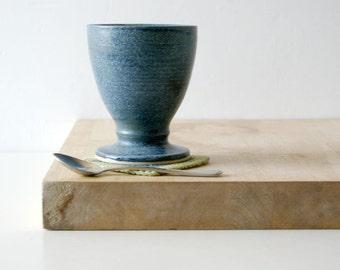 One handmade pottery wine goblet - glazed in smokey blue