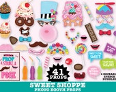 Sweet Shoppe Party, Photo Booth Props, Cupcake, Birthday, Donuts, Candy -  Instant Download PDF - 40 DIY Printable Props