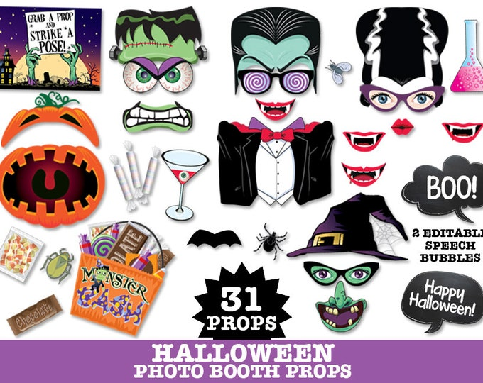 Halloween Photo Booth Props - Witch, Monster, Halloween, Vampire Party -  Instant Download PDF with 31 DIY Printable Props