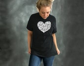 heart tshirt . Women's heart tee - black . unisex