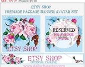 80% OFF SALE Premade Etsy Banner and Avatar Blank Template //vintage rose Roses graphics //Etsy shop banner//graphic design // logo design