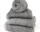 Grey Shetland and Black Carbonized Bamboo Spinning Batts - 4 ounces
