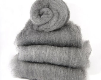 Grey Shetland and Black Carbonized Bamboo Spinning Batts - 4 ounces