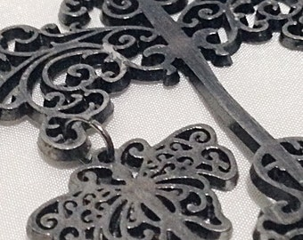 Large silver dragonfly butterfly charms pendant focal finding