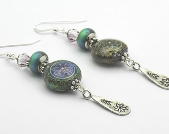 Sterling Silver Flower Earrings, Antiqued, Flower Earrings, Mood Bead - 1EAC0026SS