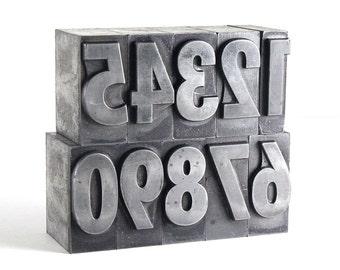 NUMBERS - 72pt Metal Letterpress - Bold Sans Serif