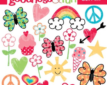 Buy 2, Get 1 FREE - Happy Doodles Clipart - Digital Doodles Clipart - Instant Download