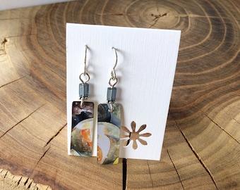 Repurposed Marble tin earring