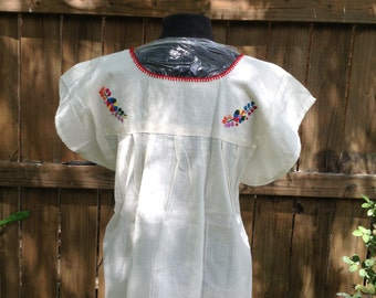 Gorgeous Floral Art Embroidered Beige Blouse