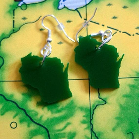 Green Wisconsin Earrings - Laser Cut State Jewelry - State Love
