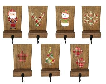 stocking holder, reclaimed wood, plaid decor, rustic Christmas, plaid stocking hook, mantle decor, Christmas plaid, stocking hanger, deer