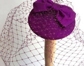 Magenta veiled cocktail hat-Burlesque-Headpiece-Bow-Veil-Bridal-Wedding-Fascinator-1950's-Rockabilly-Retro.