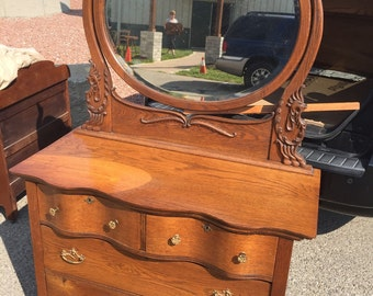 Antique Serpintine Dresser Oak Ornate Mirror 42w20d32h69h