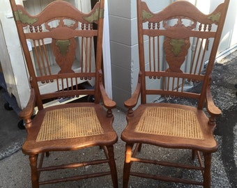 Antique Victorian kitchen farm chairs metal adornment Shipping is Not free