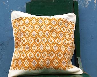 """Mayan pillow cover - Mayan throw pillow - Decorative pillow 16""""x16"""" – Handmade Guatemalan Fabric - Free U.S. Shipping - Trama Textiles"""