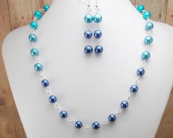Necklace and Earring Set - Shades of Dark Blue Glass Pearls with Silver - Navy - Cobalt - Aqua - Turquoise