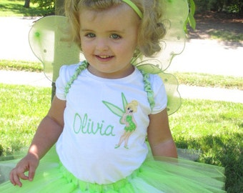 Tinkerbell Tutu Set.  Includes Boutique Tutu and Embroidered Top