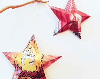 Phoenix Pale Ale Beer Stars, Christmas Ornaments, Upcycled Aluminum Can, Recycled, Sly Fox Brewing