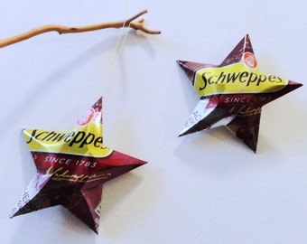 Schweppes Black Cherry Sparkling Seltzer Water Stars, Christmas Ornaments, Aluminum Can Recycling,  Upcycled
