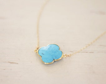 Clover Necklace - Turquoise Stone Connector