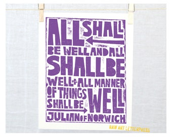 All shall be well Julian of Norwich Typography, Wall Art, Raw Art Letterpress, Inspirational, Get Well, Posters and Prints