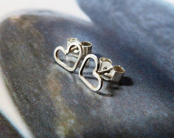 Tiny hearts silve stud earrings, sterling silver handmade natural jewelry,