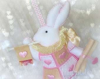 Nursery Mobile - White Rabbit in court - pink and cream