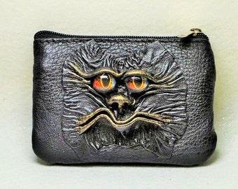 Dragon eye black genuine leather men zippered wallet small mini coin purse key pouch