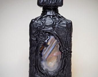 Handcrafted black leather bottle with agate. Handmade leather flask with semi precious stone. Leather home decor.