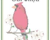 North Carolina State Bird, Flower and Motto Cross Stitch Pattern PDF