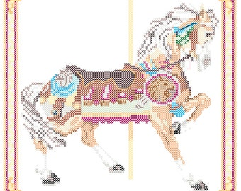 Carousel Horse Cross Stitch Pattern Philadelphia Toboggan Co., King's Dominion, VA  PDF