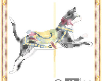 Carousel Cat Cross Stitch Pattern Herschell-Spillman Myrtle Beach, SC PDF