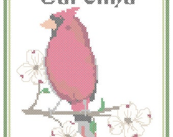North Carolina State Bird, Flower and Motto Cross Stitch Pattern PDF