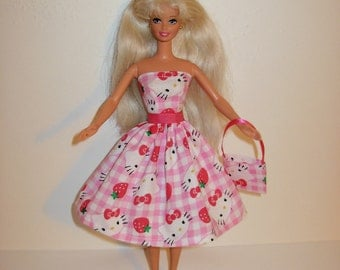 Handmade barbie clothes - CUTE Hello Kitty dress and bag 4 barbie doll