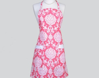 Full Chef Retro Apron . Womans Cute Kitchen Cooking Apron in Hot Pink and White Damask Washable Home Decor Fabric Cute Vintage Chef Apron