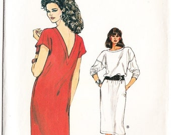 Classic 1983 Vogue 8632 Sewing Pattern Misses' Dress Size 8,10,12 Bust 31-1/2, 32-1/2, 34