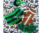 Inspired by Notre Dame College Football, The Fighting Irish - 3 piece set -ruffle bum baby bloomer, football Leg warmers, baby headband