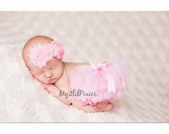 Baby Girl PINK TUTU Bloomer, chiffon ruffle diaper cover, photo prop, newborn ruffle bloomer, Newborn Photo prop, Many colors to choose