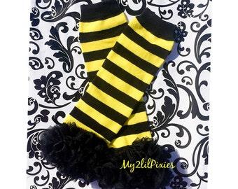 Bumblebee LEG WARMERS, Ruffle leg warmers , baby girl leggings , Baby legwarmers ,yellow and black, halloween costume, Striped Leg warmers