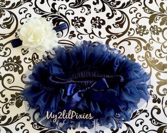 Baby Girl SET-Chiffon tutu Bloomer and Cream lace flower headband, navy blue cream, Baby Girl headband Newborn Photo Prop-ready to ship