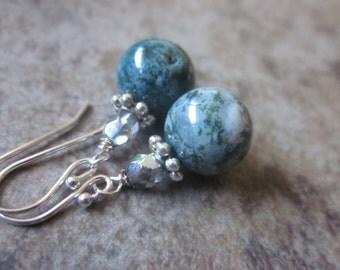 Green Jasper Earrings, 925 Sterling Silver, Fancy Jasper Gemstone, Bridesmaid Jewelry, Forest Green, Grey Crystal, Canadian Seller, OOAK