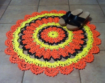 Crochet rug-4 Crochet Placemat Plastic doily Plastic bag rug Recycled rug Hand Crocheted Multicolor rug colorful rug Halloween Autumn