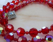 Vintage Red Glass Aurora Borealis Bead Necklace with Rhinestone Clasp
