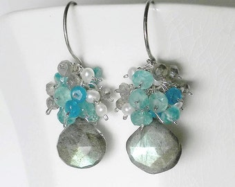 Labradorite Earrings, Apatite Pearl and Labradorite Gemstone Cluster Earrings