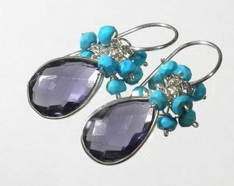 Gemstone Cluster Earrings, Amethyst and Turquoise Cluster Earrings, Purple Amethyst Drop Earrings